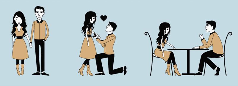 demande en mariage faire part dessin couple alsace