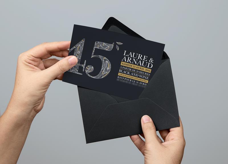 illustration et typographie, carton d'invitation pour un anniversaire au black & wine à strasbourg, hotel hannong